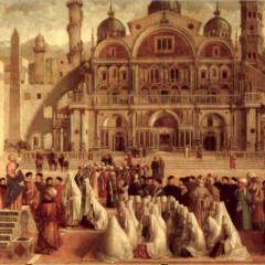 Image: La predica di San Marco ad Alessandra d'Egitto, 1504-07, Gentile Bellini (1430/35-1507) & Giovanni Bellini (1425/30-1516), oil on panel, 3.47x7.7 m.