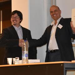 Dr Mike A. Zuber receives the ESSWE Thesis Prize 2019 from the society's president Professor Andreas B. Kilcher. © Mriganka Mukhopadhyay.