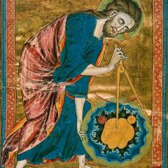 Image: 'God as Geometer'. Frontispiece of Bible Moralisée. Illumination on parchment, c. 1220-1230, Österreich