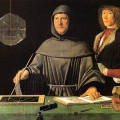 Jacopo de' Barbari - Portrait of Fra Luca Pacioli and an Unknown Young Man, Attributed to Jacopo de' Barbari [Public domain]